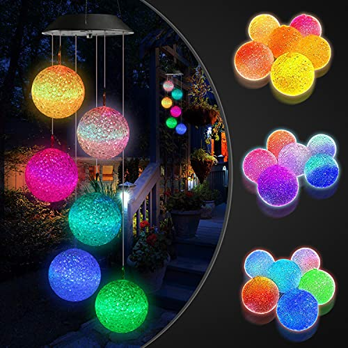 YEEMATOP Solar Wind Chime,Crystal Ball Wind Chime lamp,LED Color Changing Solar String Lights,Indoor Fairy Light,Waterproof Outdoor Decorative Lights for Garden,Patio,Party,Bedroom,Window.