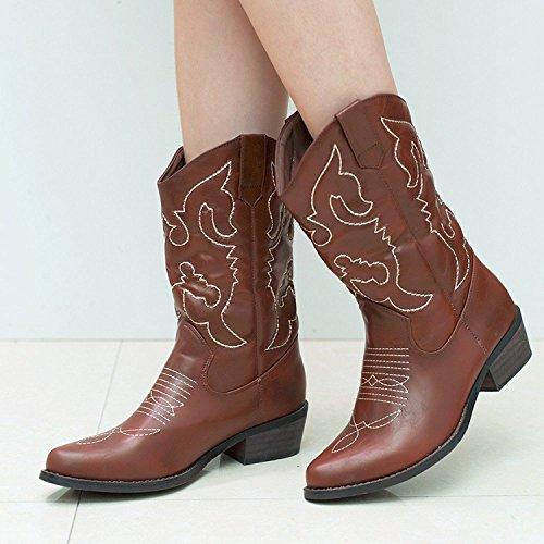Womens Mid Brown Cowboy 6 Size 11 Boots Calf Western SheSole Wedding 1nCOwx7qq