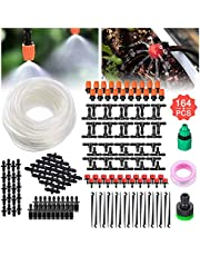 Tvird Drip Irrigation System, Micro Drip Irrigation Kit, DIY Patio Plant Watering Kit, Garden Irrigation System 50ft Transprant Hose with 2 Kind of Spayers (20 Misting Nozzles +20 Adjustable Dripper)