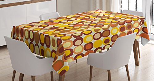 Ambesonne Mid Century Tablecloth, Kitsch and Retro Styled Round Edged Square Pattern in Old Earth Tones, Dining Room Kitchen Rectangular Table Cover, 52 W X 70 L inches, Brown Yellow Coral ()