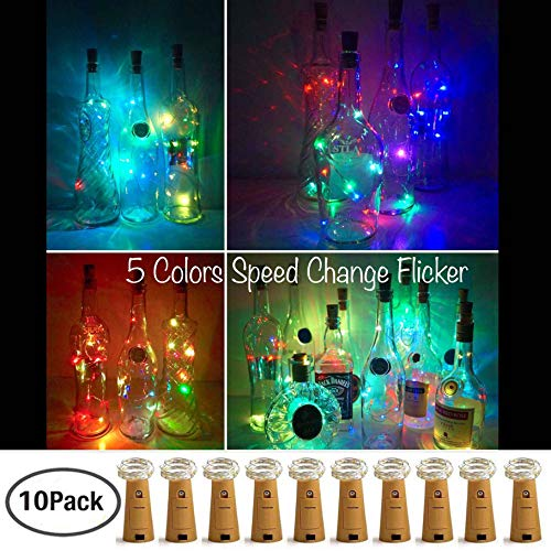 LoveNite Wine Bottle Lights with Cork, 10 Pack Battery Operated 8 LED Cork Shape Copper Wire Colorful Fairy Mini String Lights for DIY,Party,Decor,Christmas,Halloween,Wedding (5 Colors Flicker)