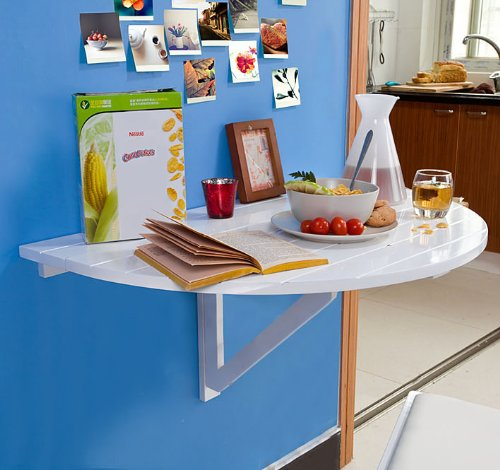 Sobuy Fwt10 W Table Murale Rabattable En Bois Table De Cuisine Pliable Table Enfant Demi Ronde Blanc