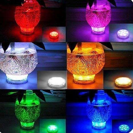 Luz Led Sumergible Multicolor Resistentes al Agua con Mando a Distancia, Alilimall. Luces a Pilas de Colores y Sumergibles Bajo el Agua, para Bañera, ...