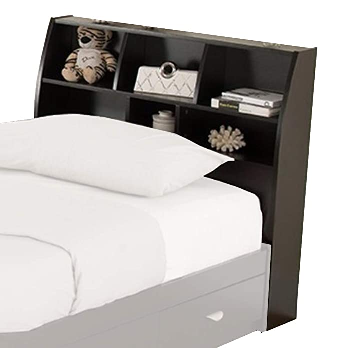 Twin Bookcase Headboard with 6 Separate Shelves Dark Brown - Benzara