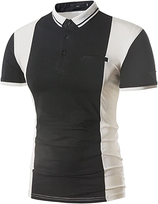 c61a753671e Cottory Men s Fashion Fack Pocket Contrast Color Short Sleeve Polo T Shirt  Black X-Small
