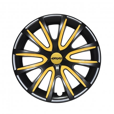14-inch 4 universal two-tone wheel trims Black//Yellow