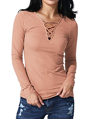JayJay Women Sexy Caged Neck Long Sleeve Henly Shirt Top,INDIANPINK,L