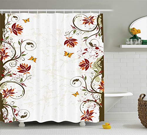 Ambesonne Floral Shower Curtain, Branches Leaves Artistic Bright Petals Essence Beauty Ornate Print, Fabric Bathroom Decor Set with Hooks, 70 Inches, Brown Burgundy Pale Green