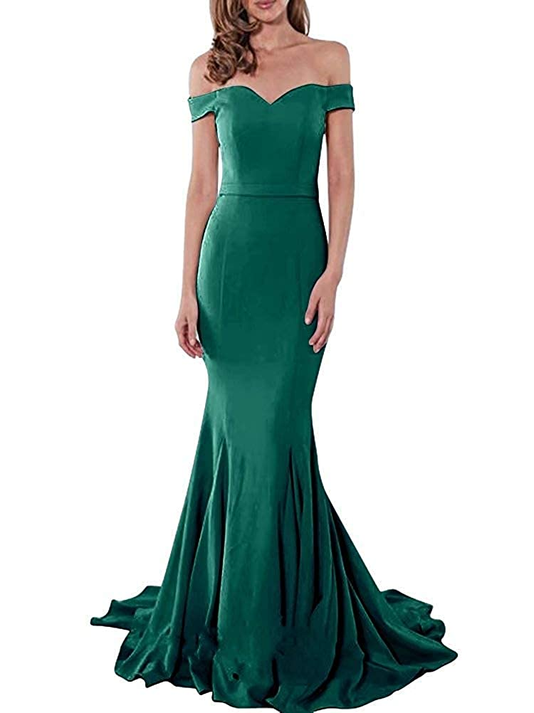 Dark Green PearlBridal Women's Simple Off The Shoulder Mermaid Prom Dresses 2019 Long Evening Gowns with Sweep Train