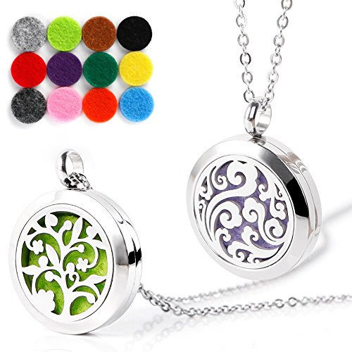 RoyAroma 2PCS Mini Cloud & Tree of Life Aromatherapy Essential Oil Diffuser Necklace Two Patterns Pendant Locket Jewelry,23.6Adjustable Chain Stainless Steel Perfume Necklace