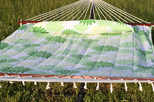 Quilted Double Cotton Fabric Hammock with Detachable Pillow (Fabric Quilted Hammock Large)