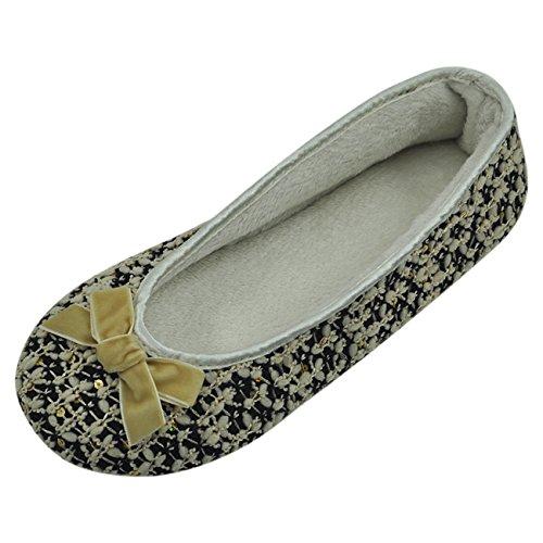 Pantofola Per La Casa Ballerina Da Donna Soffice Peluche Suola Interna Ballerina Nera Con Motivo Giallo