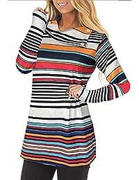 Women's Long Sleeve Striped Button Cowl Neck Tunic Sweatshirts Tops