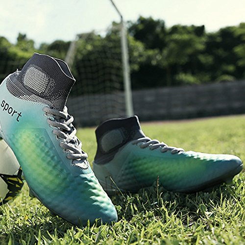 DoGeek Football Boots Junior Adults Soccer FG Soccer Shoes Blue Green Br2NM9BKxe
