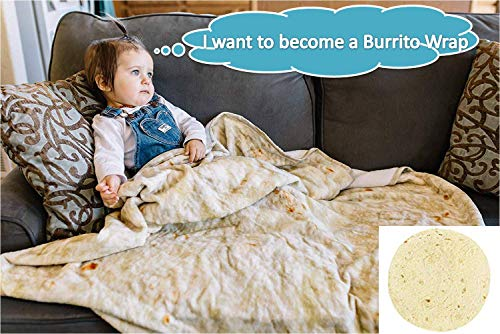 RAINBEAN Perfectly Round Novelty Blanket,Tortilla Throw Comfort Food Creation Burrito Wrap Blanket,Kids Super Soft Warm Swaddling Blankets Throw Rug Sofa and Bed,Yoga Mat,Picnic Blanket-4' Diameter ()