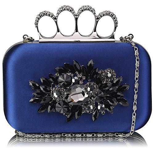 TrendStar - Bolso de mano para mujer, diseño rígido con aplicaciones de estrás, para boda o fiesta, nacarado Azul - azul marino