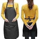Click Down Unisex 2 Pocket Black Kitchen Apron Bib, One Size in Medium by Click Down