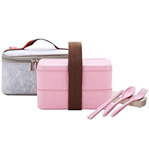 YBOBK HOME Japanese Bento Box Microwave Safe Lunch Box with Bag and Reusable Flatware Utensils Set Stackable Bento Lunch Box Plastic Wheat Straw Bento Box Dishwasher Safe for Adult Kid (2-Tier, Pink)