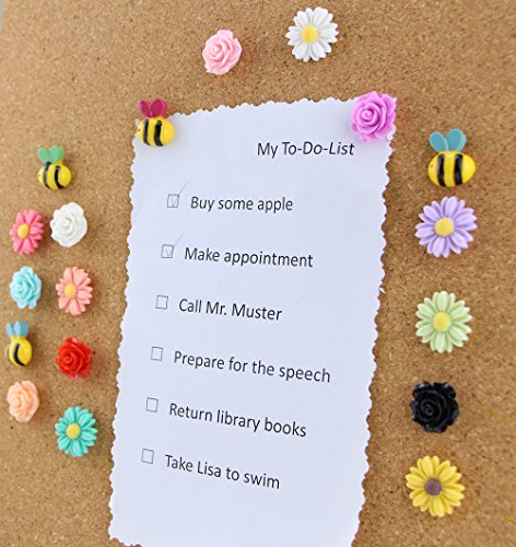 (Yalis 24 Pcs Decorative Thumbtacks Colorful Floret and Bees Pushpins for Feature Wall, Whiteboard, Corkboard, Photo Wall )