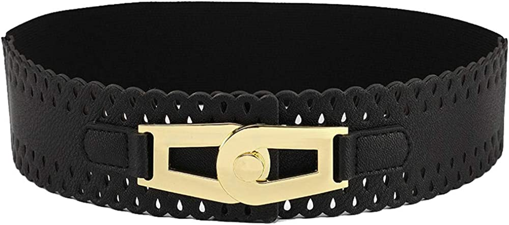 Women's Soft Leather Gold Buckle Wide Elastic Waist Belt for Dress