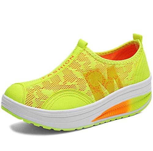 Solshine Damen Netz mit Keilabsatz Laufschuhe Sport Freizeitschuhe Atmungsaktiv Gelb 5