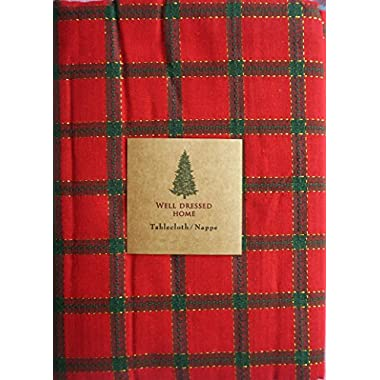 Well Dressed Home Fabric Tablecloth Green Checked Stripes on Red Christmas Holidays Plaid Pattern with Gold Thread Highlights 60 Inches Round