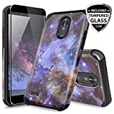 LG Stylo 3 Case, LG Stylo 3 Plus Case, with TJS [Full Coverage Tempered Glass Screen Protector] Ultra Thin Slim Hybrid Shockproof Drop Protection Impact Rugged Case Armor Cover (Stardust)