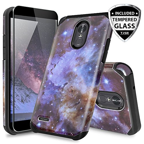 TJS LG Stylo 3 / LG Stylo 3 Plus Case, [Full Coverage Tempered Glass Screen Protector] Dual Layer Hybrid Shockproof Drop Protection Impact Rugged Case Armor Cover (Stardust)