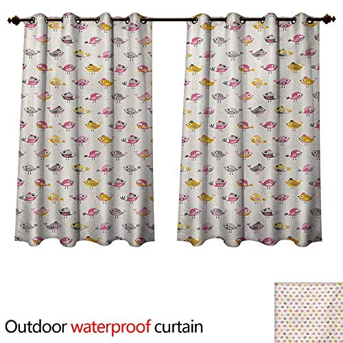 WilliamsDecor Baby Outdoor Curtain for Patio Cartoon Style Birds with Fancy Funny Animals with Accessories Top Hat Flowers W72 x L72(183cm x 183cm)