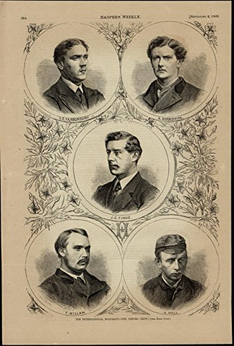 Oxford Rowing Crew Portraits College Sports wonderful 1869 unusual old print - Portraits Oxford