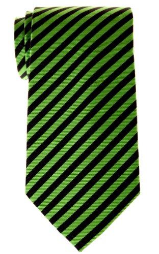 Retreez Stripe Woven Men's Tie - Green and Black - Black Stripes Green