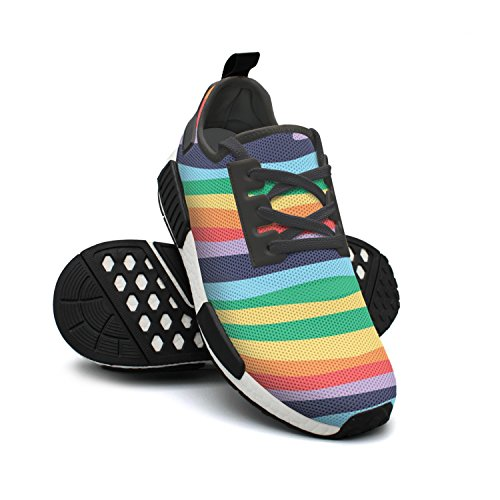 Stripe Bright Breathable Mesh Zebra Womens Fashion Gym FAAERD Shoes Lightweight Sneaker Rainbow Classic xaqTnXwC