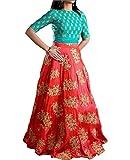 Market Magic World Woman's and Girl's Orange Banglori Silk Semi stitched Free Size Lehengha Choli (Ghaghra Choli, Chaniya Choli)