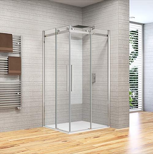 mampara de ducha 75 X 80 80 X 75 de cristal templado de 8 mm h.195, Anti Piedra caliza, Reversible, ASA de acero inoxidable: Amazon.es: Bricolaje y herramientas