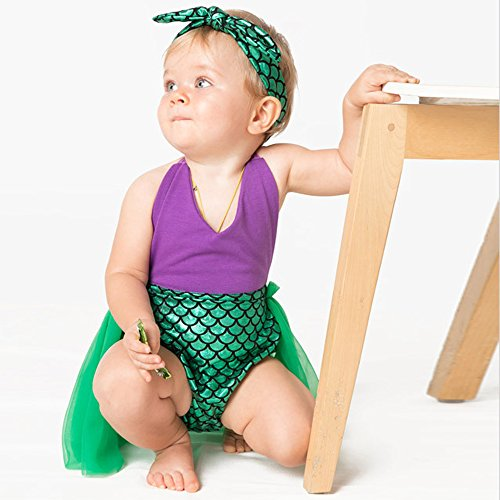 Moomintroll Little Girls Swimmable Mermaid Princess Bikini Swim Bathing Suit with Headband (12-24 Months)