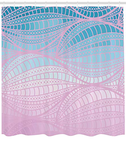 hower Curtain by, Wavy Curvy Stripes with Dots and Lines Funky Ethnic Spring Storm, Fabric Bathroom Decor Set with Hooks, 70 Inches, Baby Pink Blue Light Blue ()