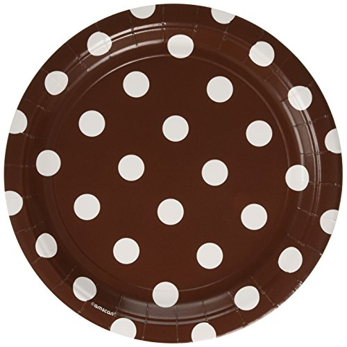 Amscan Chocolate Brown Dots Round Plates | 9