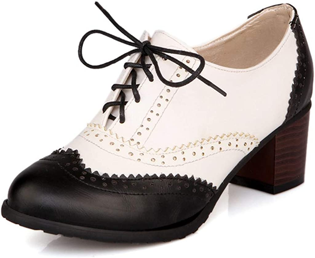MIOKE Women's Block Mid Heel Wingtip Oxfords Pumps Two Tone Perforated Lace Up Vintage Brogues Dress Shoes