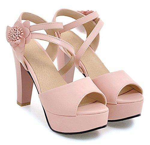 Aisun Vrouwen Strappy Bloem Haak En Lus Dressy Chunky Hoge Hak Peep Toe Platform Sandalen Met Enkelbandje Roze