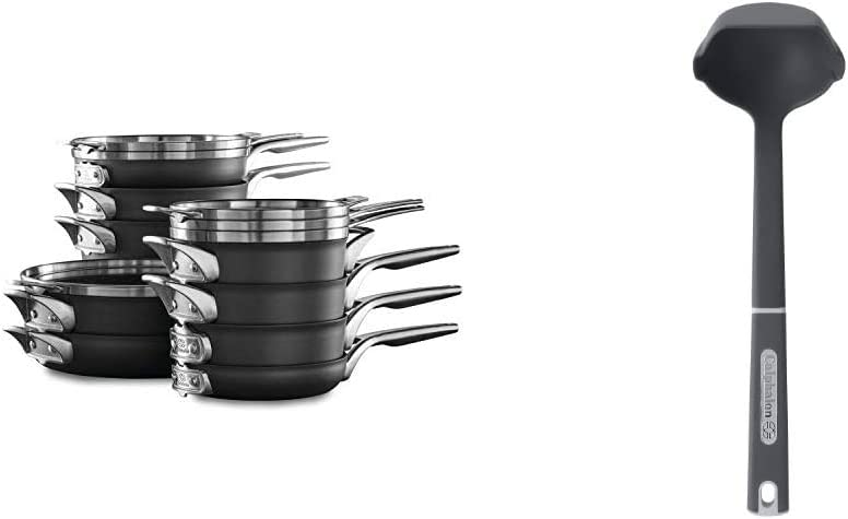 Calphalon Premier Space Saving Nonstick 15 Piece Set & Nylon Ladle Utensil
