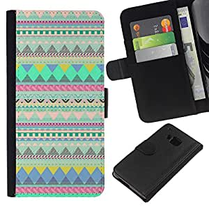 iBinBang / Flip Funda de Cuero Case Cover - Lines Pattern Native Indian Teal - HTC ONE M7