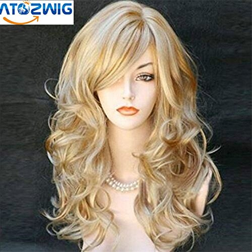 [ATOZWIG@Cosplay Wig Party Women Fashion Long Wavy Curly Costume Synthetic Hair Sexy Blonde Wigs Female Peruca] (Long Sexy Wigs)