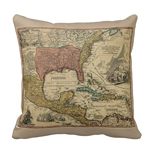 Price comparison product image Map Of North Central America By J Homann 1759 Throw 18*18 pillow Case