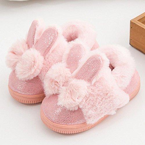 Janly Nette Kleinkind-Bogen-Baby-Plüsch-weiche alleinige rutschfeste warme Samt-Schnee-Schuhe Rosa