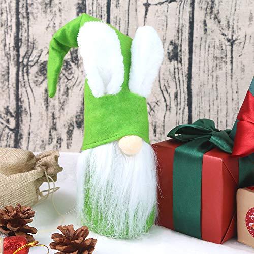 1Tomte Swedish Plush Santa Gnome, Green Bunny Gnome Handmade Scandinavian Tomte Santa Scandinavian Gnome for Christmas Santa Decoration Table Decor