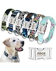 Beirui Gepersonaliseerde hondenhalsband met naamplaat - aangepaste bloemenhalsband met snelsluiting - verstelbare huisdierhalsband past kleine middelgrote grote honden, zwart wit raster, M (hals 12-19,5 inch)