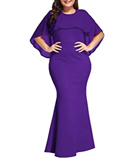 7d0796f0f2 Lalagen Womens Ruffle Mermaid Formal Gown Plus Size Evening Party Maxi Dress