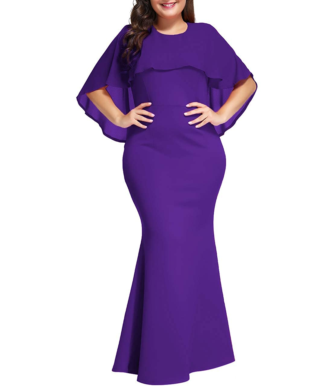 Lalagen Womens Ruffle Mermaid Formal Gown Plus Size Evening Party Maxi  Dress Purple XXL