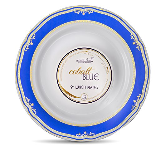 Laura Stein Designer Tableware Premium Heavyweight 9'' Inch White Plate And Blue & Gold Border Plastic Party & Wedding Plates Cobalt Blue Series Disposable Dishes Pack of 60 Plates
