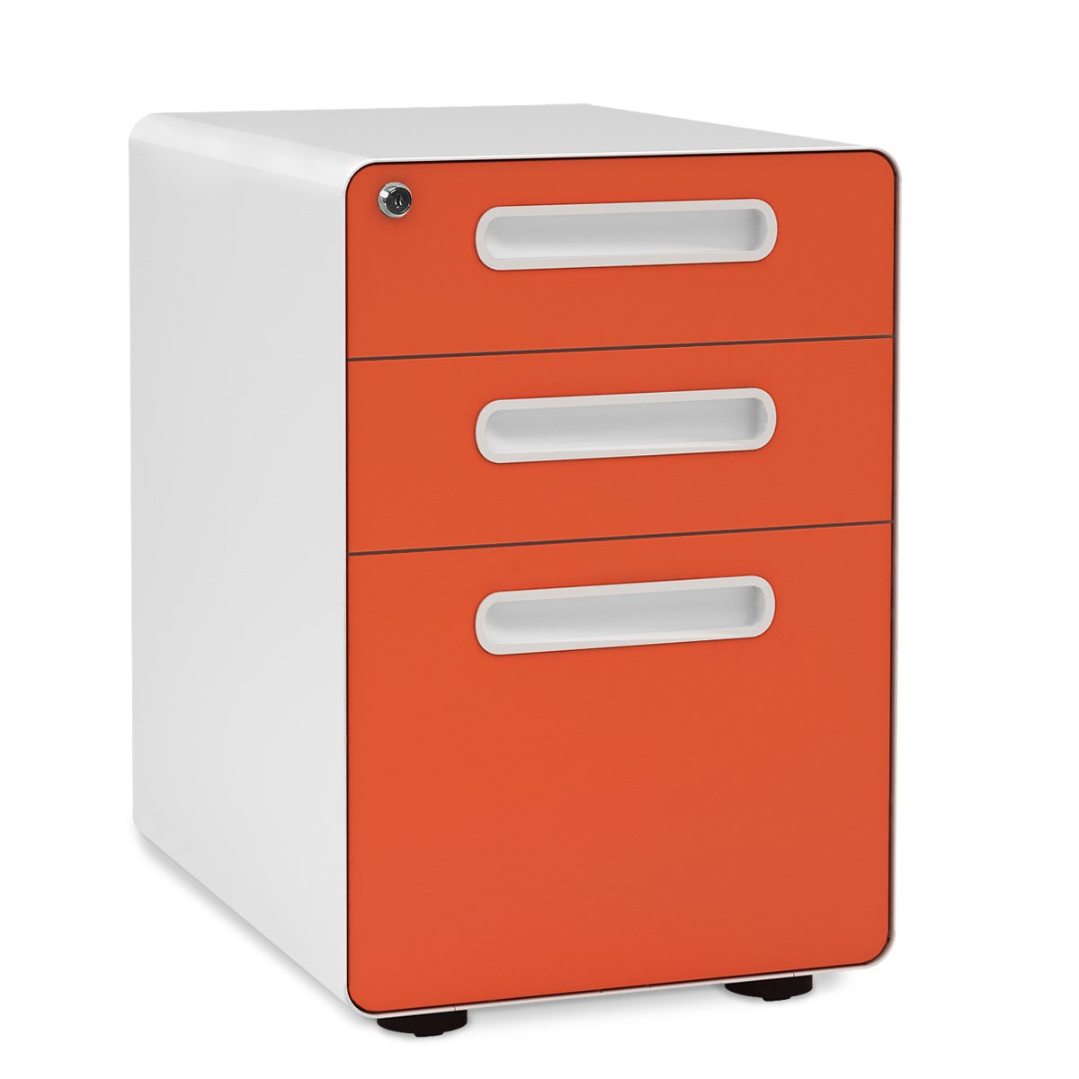 DEVAISE 3-Drawer Metal Mobile File Cabinet Round Edge Fully Assembled Cabinet with Wheels, Legal/Letter Size, Orange